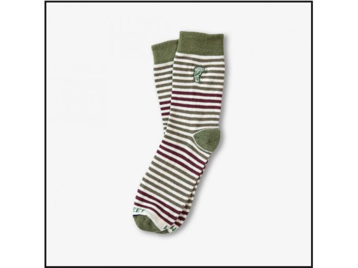Hippy Feet Socks Olive & Burgundy Striped