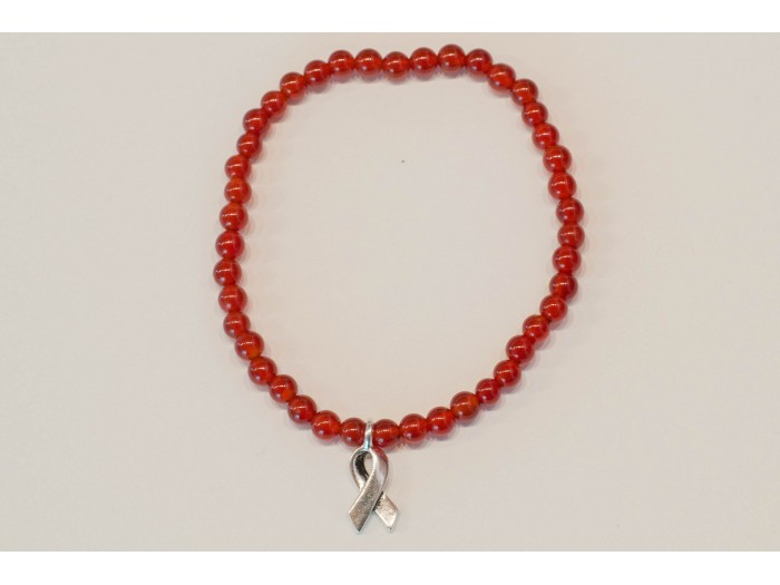 Carnelian Bracelet with AIDS Ribbon