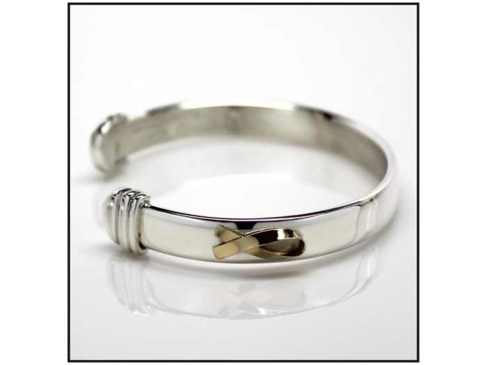 The Bracelet - Sterling Silver with 18K Gold Ribbon