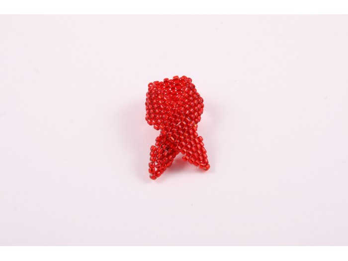 Red Beaded AIDS Pin