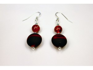 Red and Black Rubber Earrings